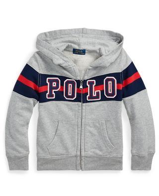 Sweat-shirt zippé à capuche détail rayure et logo POLO RALPH LAUREN