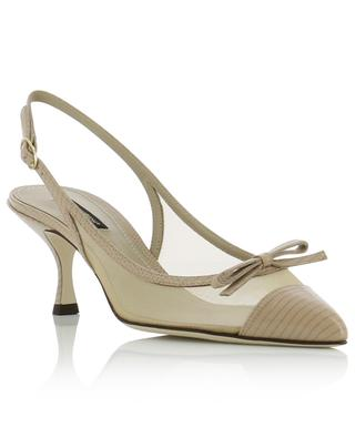 Slingback patent leather and net pumps with bow DOLCE & GABBANA