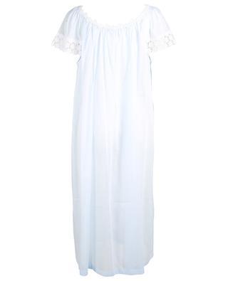 Sabrina long flower embroidered cotton nightshirt CELESTINE