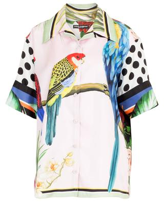 Kurzarm-Hemd aus Seide mit Papageienprint DOLCE & GABBANA