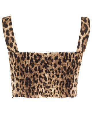 Leopard print poplin cotton cropped top DOLCE & GABBANA