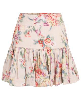 Wavelength short linen skirt with floral print ZIMMERMANN