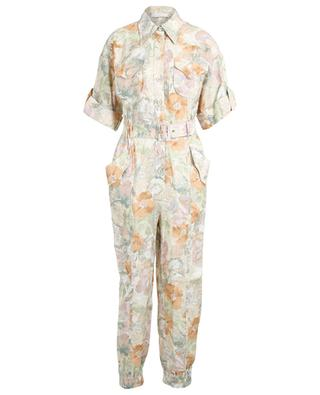 Glassy floral print linen boilersuit ZIMMERMANN