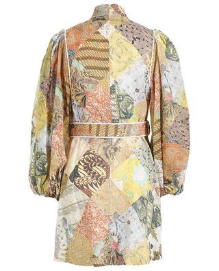 Brightside short belted batik print linen dress ZIMMERMANN