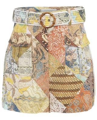 Short en lin imprimé batik Brightside Piped ZIMMERMANN