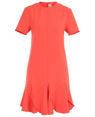 Ruffled short-sleeved short crepe dress VICTORIA BY VICTORIA BECKHAM
