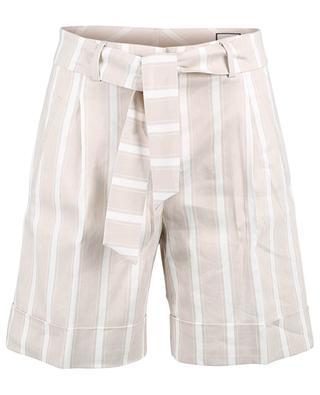 Sunny striped linen blend wide-leg Bermuda shorts SEDUCTIVE