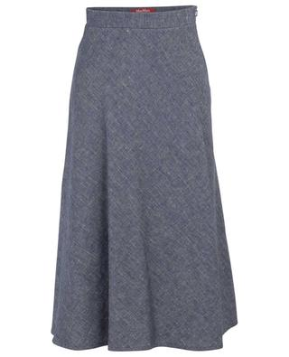 Cento A-line mottled linen and cotton blend skirt MAXMARA STUDIO