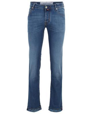 J622 indigo dyed slim fit jeans with leaf detail JACOB COHEN