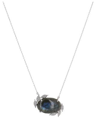 White gold necklace with labradorite and diamond clad leaves GBYG