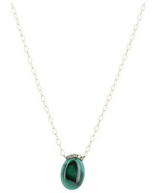 Yellow gold necklace with white diamonds and malachite GBYG