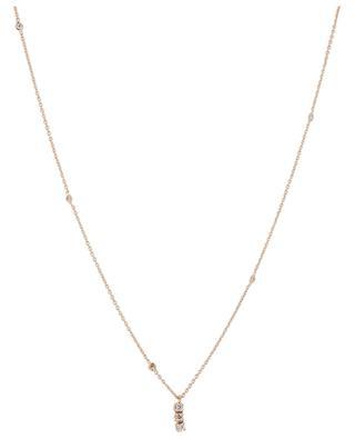 White diamond embellished pink gold necklace GBYG