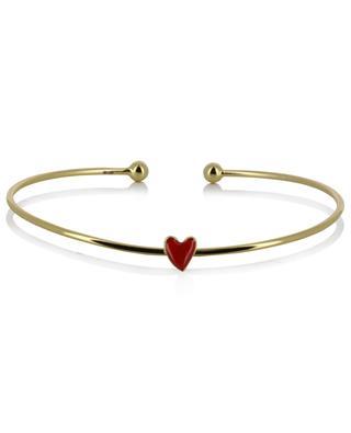 Heart fine golden bangle adorned with an enamelled heart THEGOLDLOVESHOP