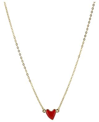 Heart golden necklace with enamelled heart THEGOLDLOVESHOP