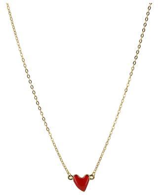 Heart golden necklace with enamelled heart THEGOLDLOVESHOP