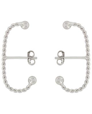Torsade Long silver stud earrings THEGOLDLOVESHOP