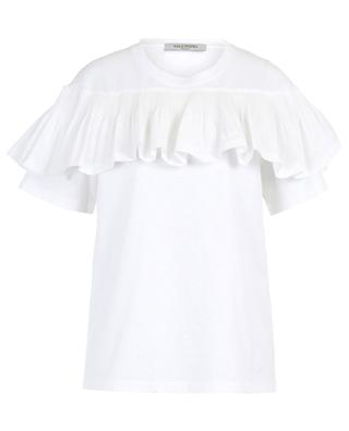 Cotton T-shirt with pleated ruffle VALENTINO