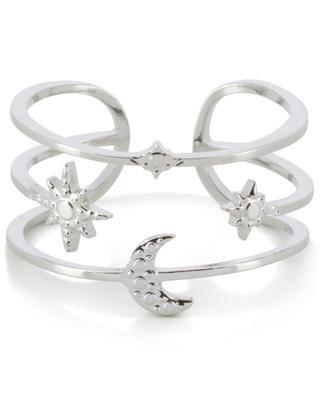 Moon and Star adjustable silver ring IKITA