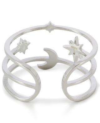 Verstellbarer silberner Ring Mond und Sterne IKITA