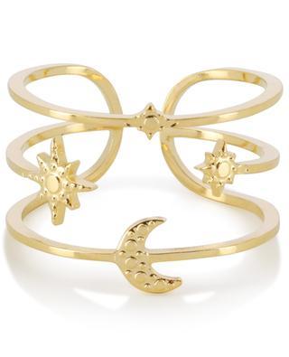 Verstellbarer goldener Ring Mond und Sterne IKITA