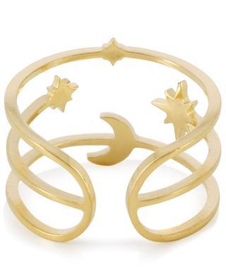 Bague ajustable dorée Lune et Étoiles IKITA