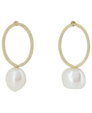 Boucles d'oreilles ellipse et perle IKITA