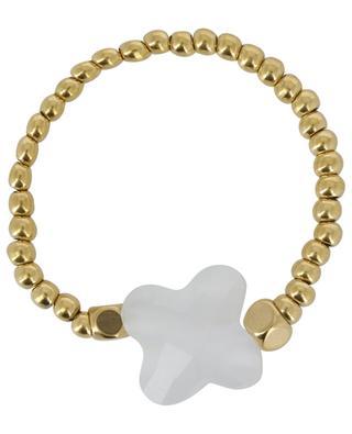 Elastischer Ring aus goldenen Perlen mit Blüte IKITA