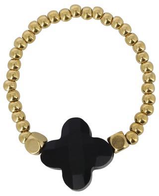 Bague élastiquée en perles dorées avec fleur IKITA