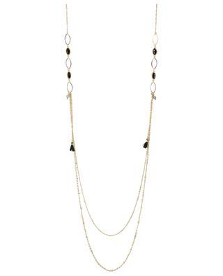 Goldene Halskette mit Steinen und Quasten IKITA