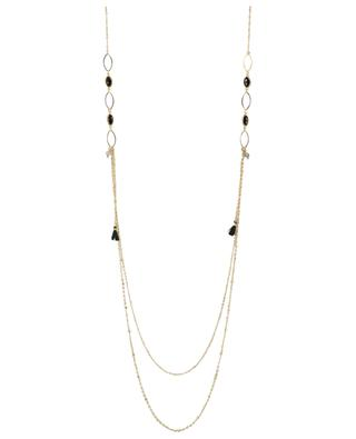 Golden necklace with stones and tassels IKITA