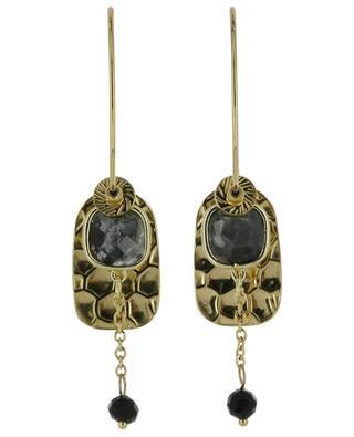Créoles dorées avec pendentifs et pierre IKITA