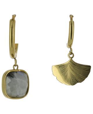 Goldene Creole mit Stein und Gingkoblatt IKITA