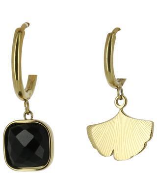 Golden hoop earrings with stone and gingko leaf IKITA