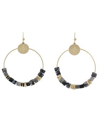 Boucles d'oreilles anneau, pierres et étoile IKITA