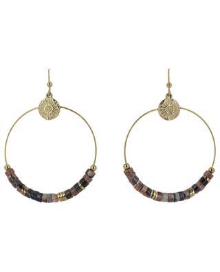 Boucles d'oreilles anneau, pierres et soleil IKITA
