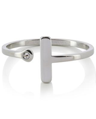 Offener silberner Ring mit graphischem Motiv IKITA