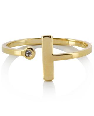 Offener goldener Ring mit graphischem Motiv IKITA