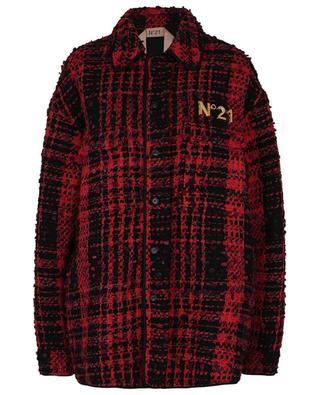 Veste oversize en tweed esprit surchemise détail logo N°21