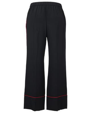 Pantalon droit passepoilé embelli de dentelle N°21