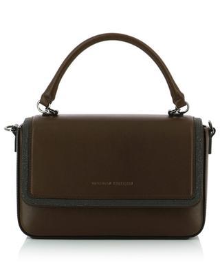 Handtasche aus texturiertem Leder mit Monile-Perlen BRUNELLO CUCINELLI