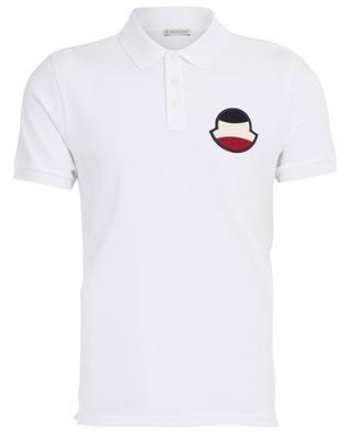 Short-sleeved cotton piqué polo shirt with terry logo MONCLER