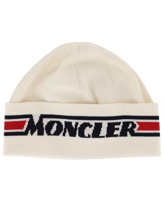 Feine Wollmütze mit Jacquard-Logo MONCLER