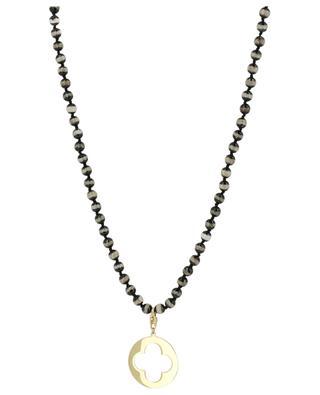 Lange Halskette aus Steinperlen mit perforierter Medaille MOON C° PARIS