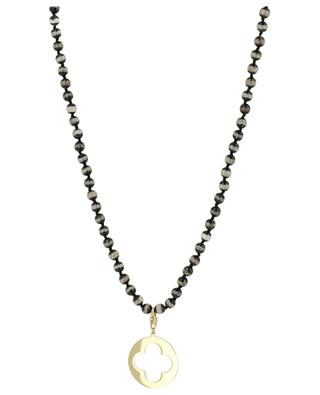 Long stone bead necklace with perforated medal MOON C° PARIS