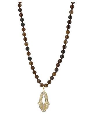 Long stone bead necklace Fatima's hand MOON C° PARIS
