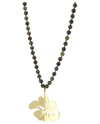 Long stone bead necklade hibiscus flower MOON C° PARIS