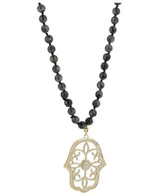 Halskette aus Steinen mit Handanhänger MOON C° PARIS