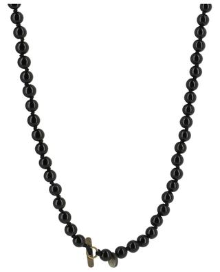 Black bead necklace with cross pattée MOON C° PARIS