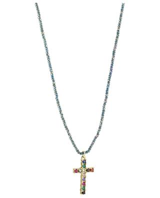 Sautoir en perles facettées pendentif croix MOON C° PARIS