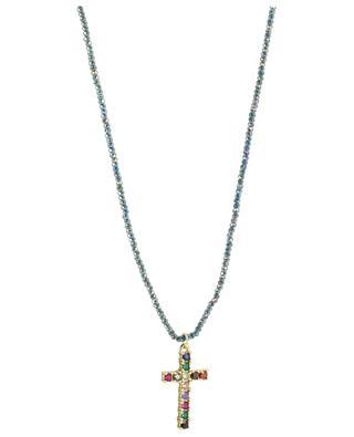 Halskette aus facettierten Perlen mit Kreuzanhänger MOON C° PARIS